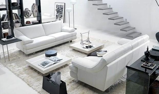 salon contemporain noir blanc