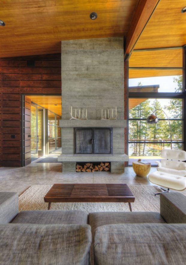 salon deco industrielle bois pierre