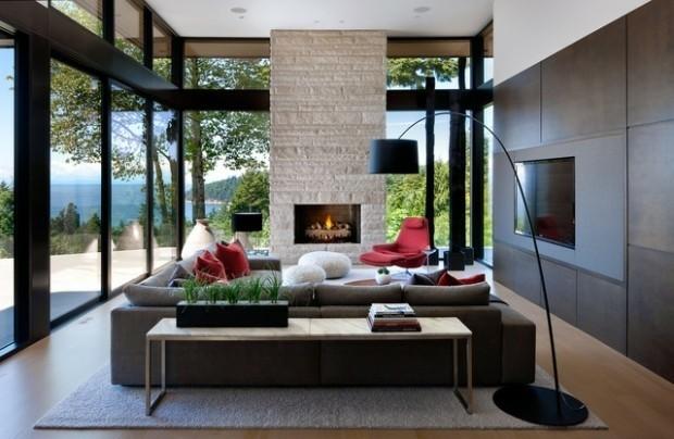 salon elegant moderne cheminee