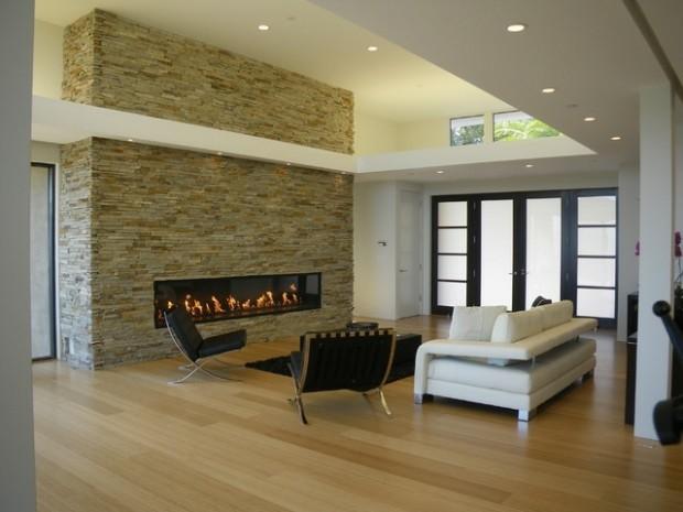 salon moderne cheminee pierre