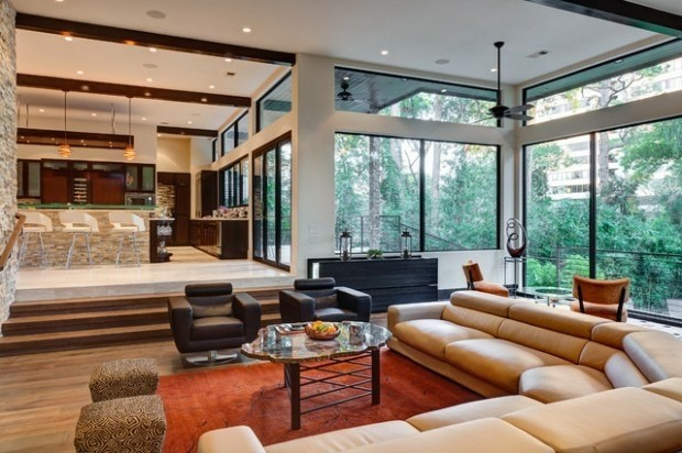 salon moderne meubles cuir