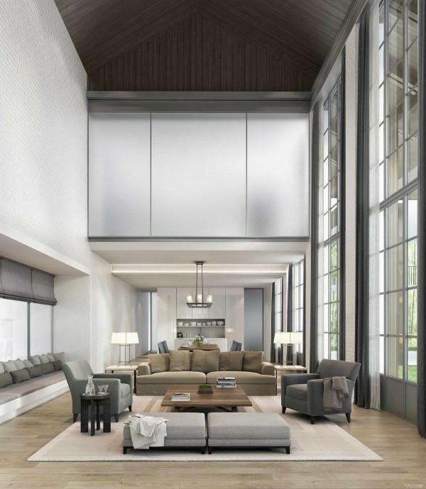 salon moderne plafond haut