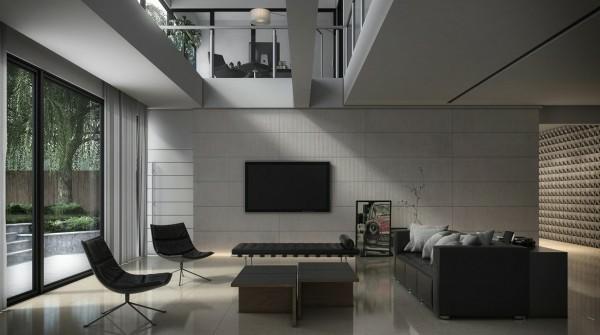 séjour moderne noir gris