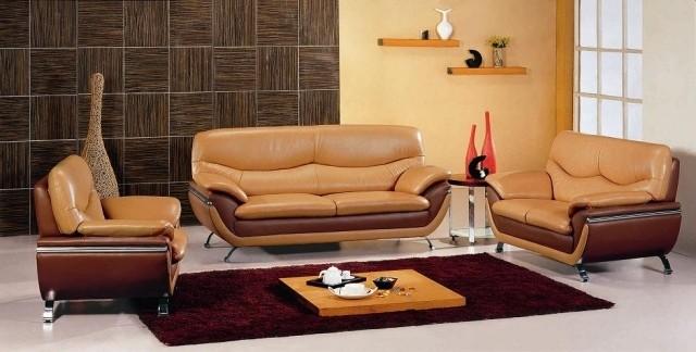 aménagement-de-salon-meubles-modernes-canape-ensemble-couleur-marron-jaune-table-basse