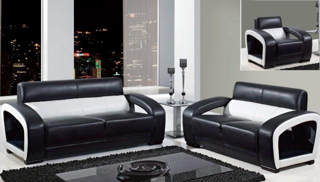 aménagement-de-salon-meubles-modernes-canape-ensemble-noir-blan-tapis-rectangulaire