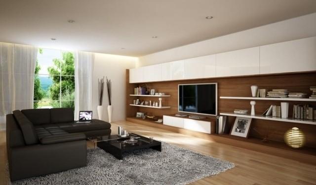 aménagement-de-salon-meubles-modernes-canape-noire-table-basse