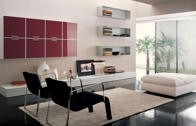 aménagement-de-salon-meubles-modernes-chaises-ottomane-etageres-murales