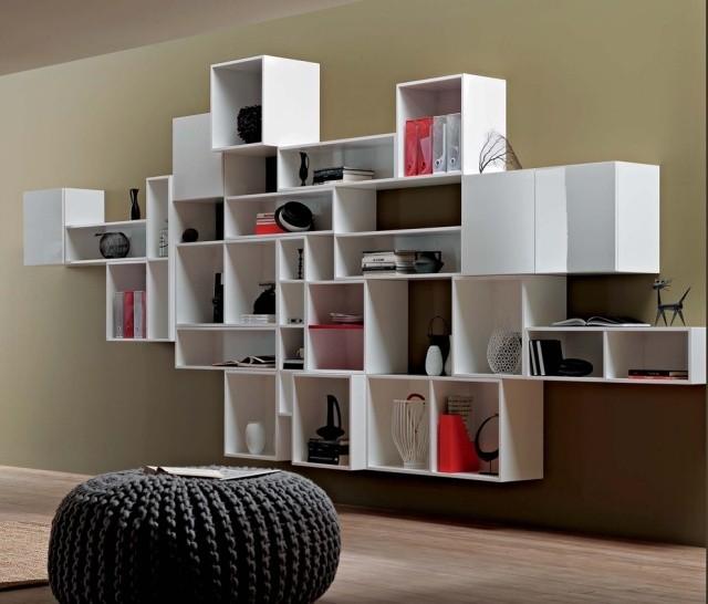 aménagement-de-salon-meubles-modernes-etageres-murales-pouf