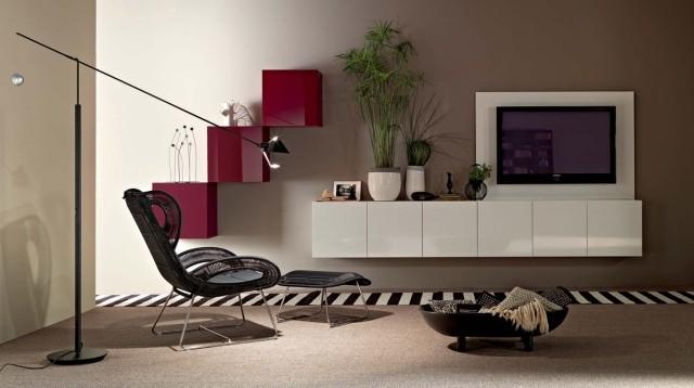 aménagement-de-salon-meubles-modernes-tele-chaise-tapis-rayures-noires-blanches