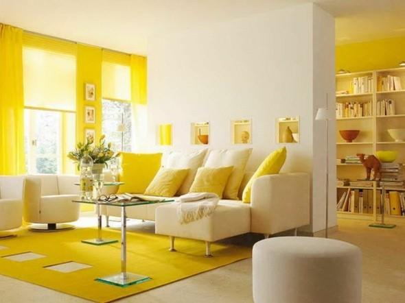 déco salon chaleureux jaune