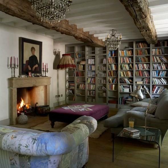 salon grande bibliotheque cheminee