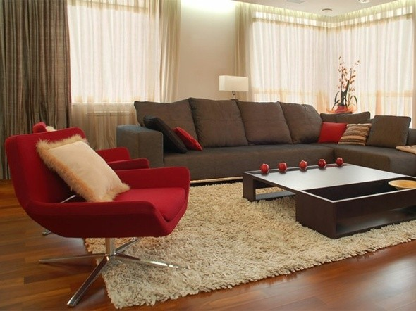 salon moderne rouge gris