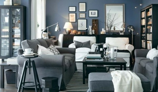 deco salon blanc gris Ikea