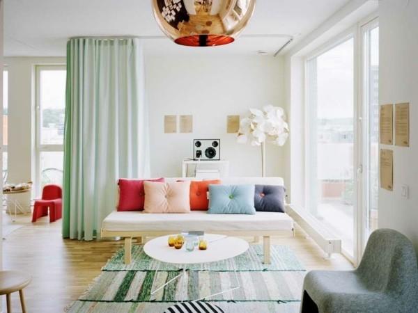idee rideaux pour salon vert