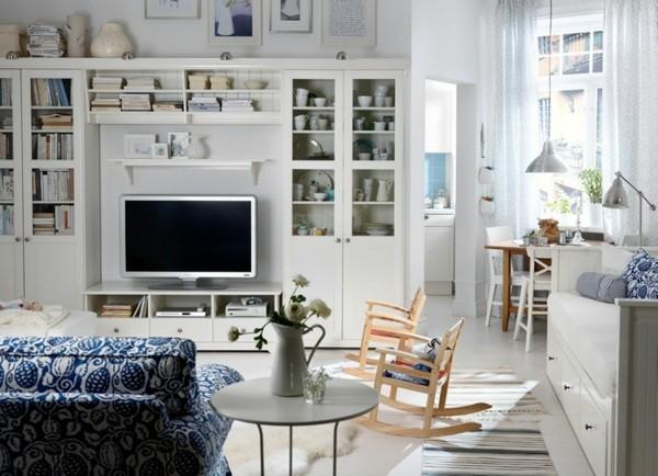 meubles salon bois blanc ikea