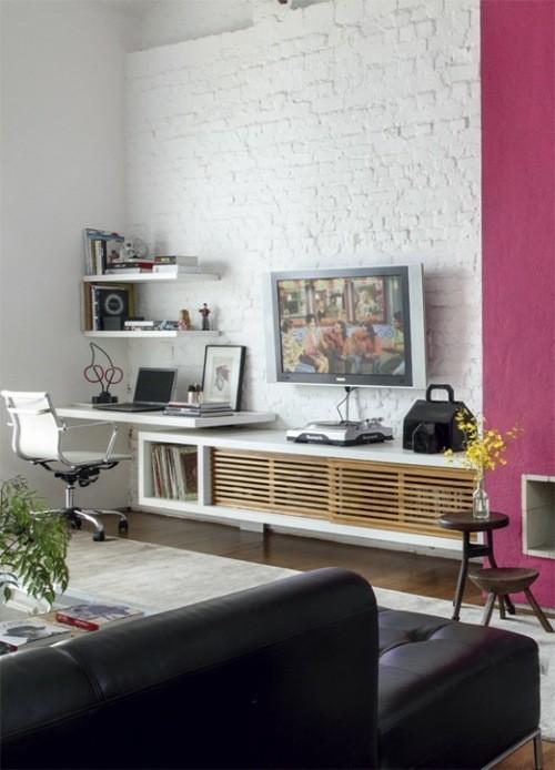 mur briques peint blanc salon commode