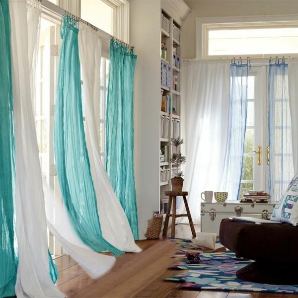 rideaux contemporains bleu blanc