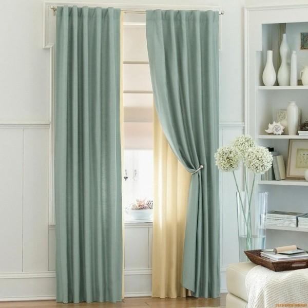 rideaux doubles bleu beige modernes