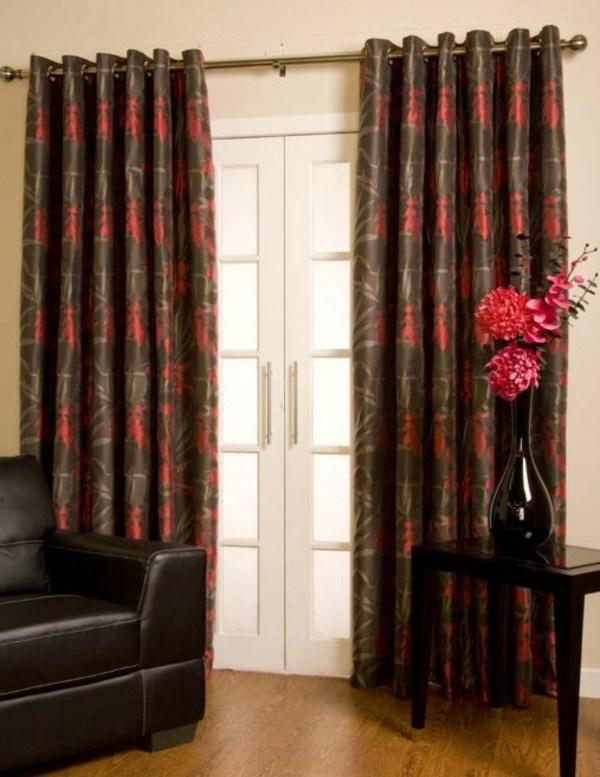 rideaux modernes rouge gris