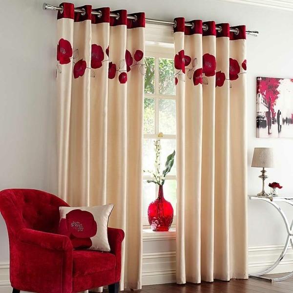rideaux motifs floraux beige rouge