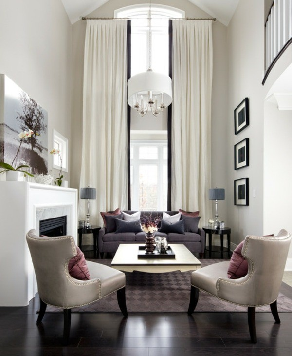rideaux salon design elegant blanc