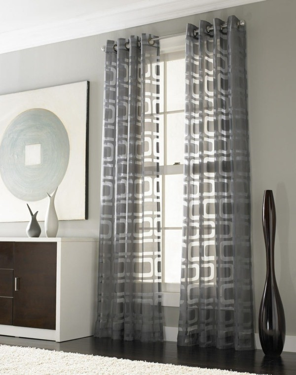 rideaux transparents motifs geometriques