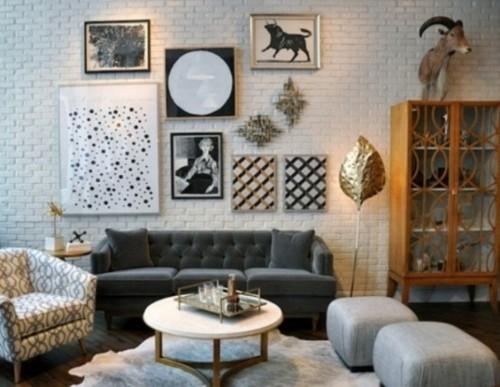 salon brique peint blanc ameublement vintage