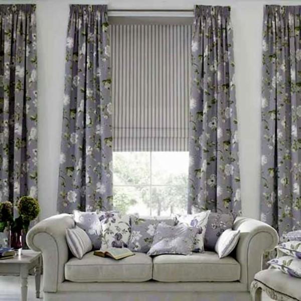 salon contemporain deco gris rideaux