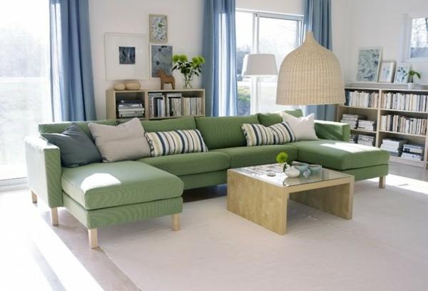 salon design moderne canape vert Ikea