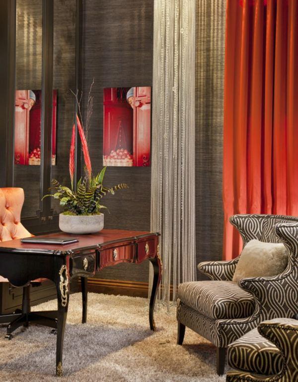 salon design rideaux rouges modernes