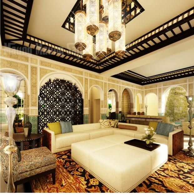 salon marocain design luminaire imposant