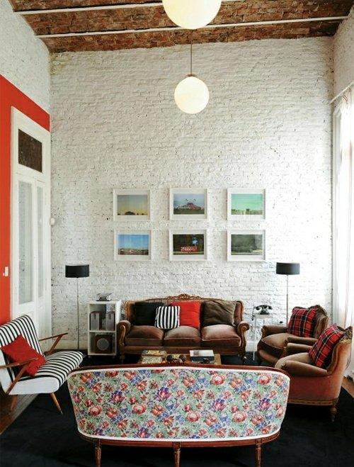 salon murs briques blanc