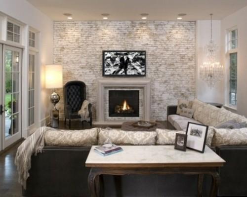 vue cheminee salon moderne clair