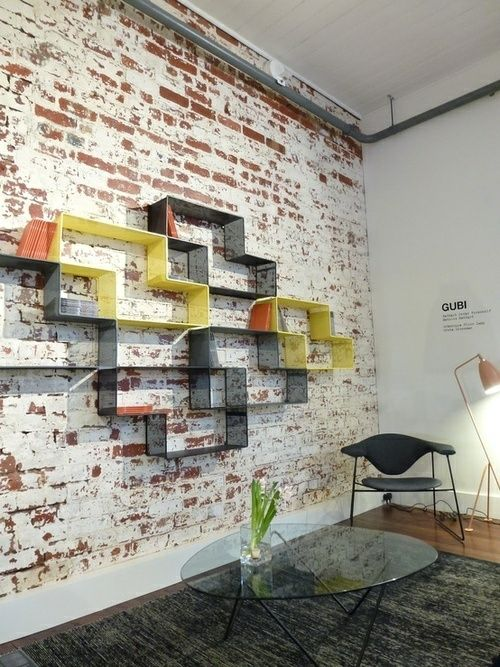 vue petite table basse verre mur style industriel