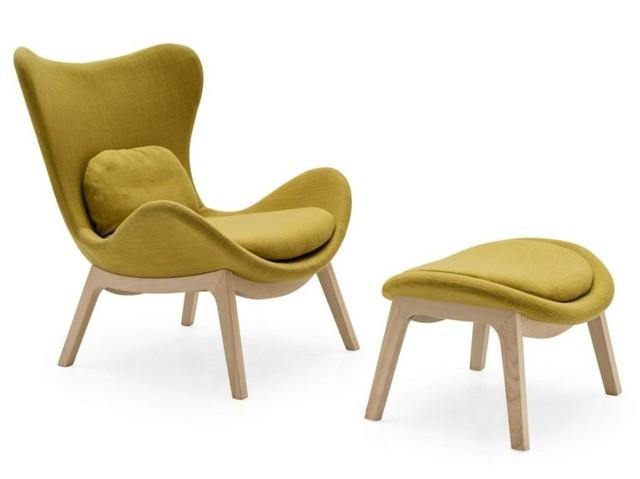 Fauteuil design en jaune vert par Calligaris salon déco