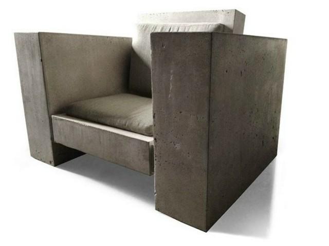 Fauteuil comme en béton par James de Wulf style industriel moderniste