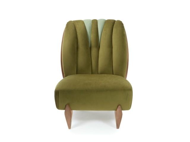 Design différent proposé par INSIDHERLAND fauteuil doux vert olive
