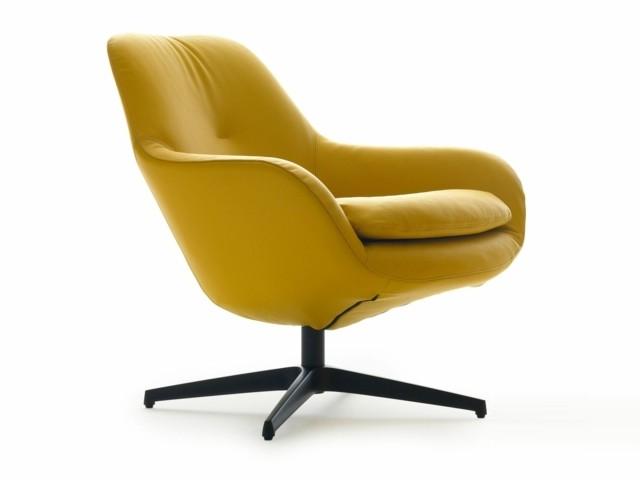 Fauteuil design par Leolux cuir jaune moutarde