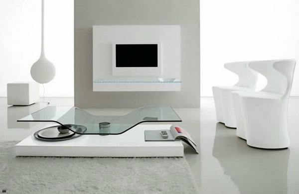 table basse design asymetrique moderne