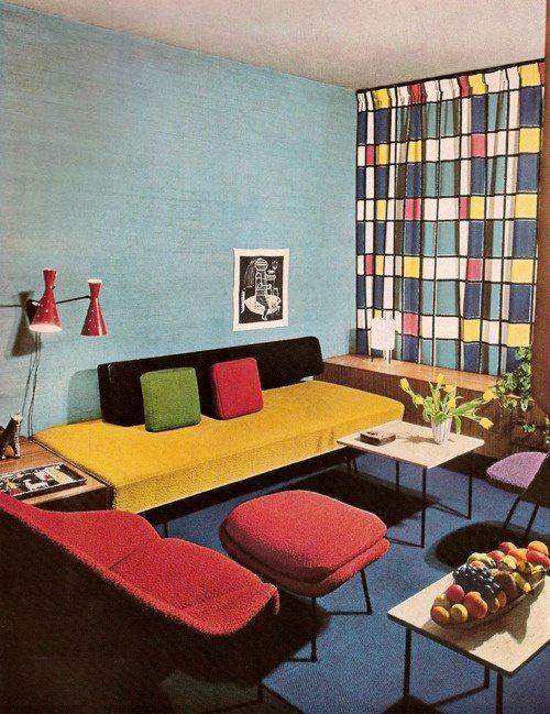 Canapé coloré pour le salon vintage