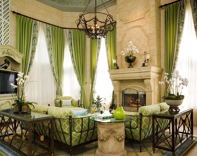 Salon traditionnel en vert et blanc