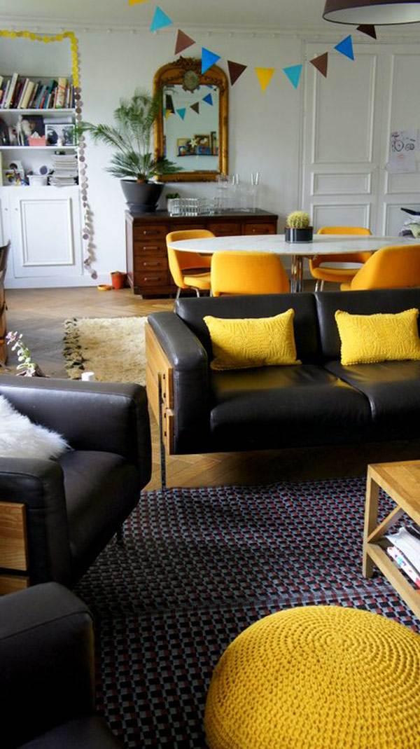 Salon vintage en jaune
