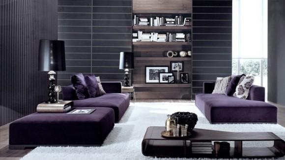 20 idées d'ameublement salon en violet élégant