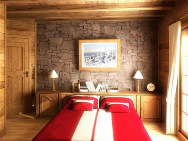 chambre rustique idée aménagement design lit deux place mur déco idée