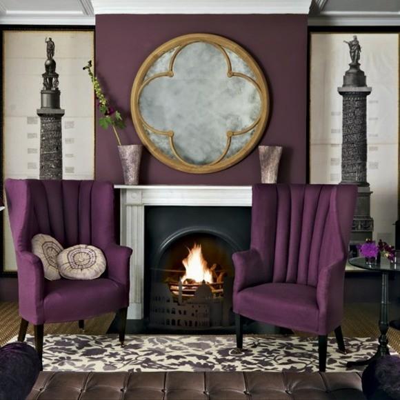 deco elegante salon violet