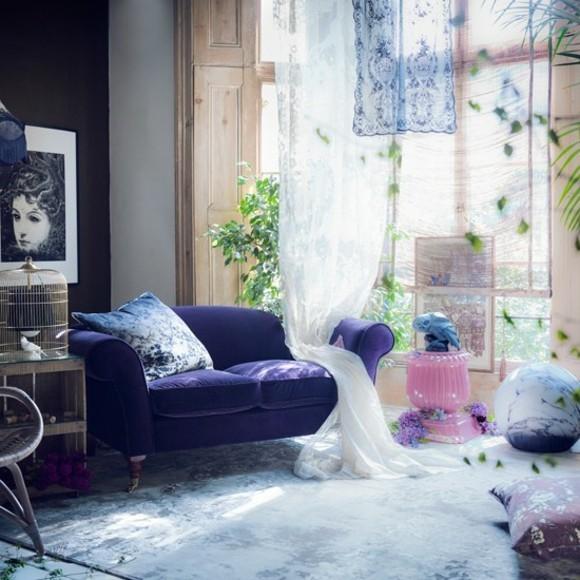 deco romantique salon canape violet