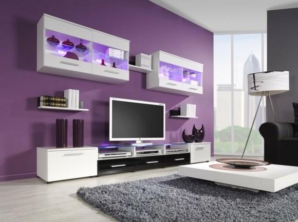 deco salon moderne violet blanc