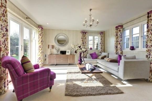 deco salon moderne violet motifs floraux