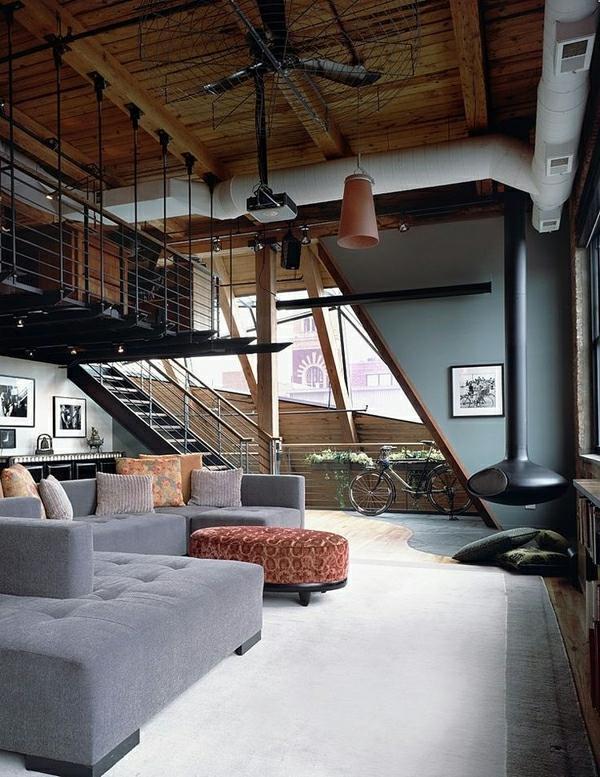 idee déco salon industriel moderne
