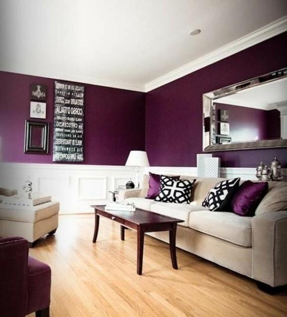 idee deco salon murs violet